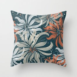 Stylized aster flowers Throw Pillow