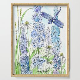 Watercolor Wildflower Garden Dragonfly Blue Flowers Daisies Serving Tray