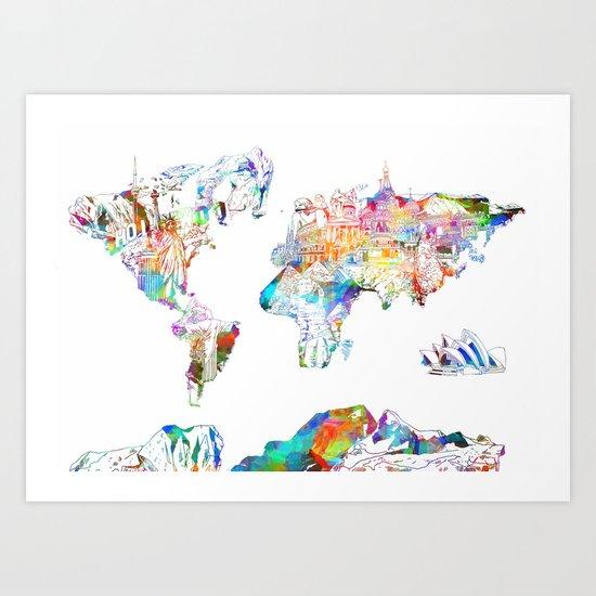world map landmarks collage Art Print
