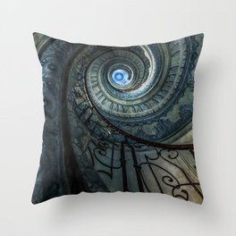 Decorated spiral staircase in blue tones Throw Pillow