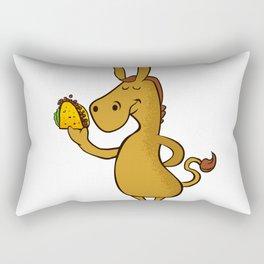donkey with taco Rectangular Pillow