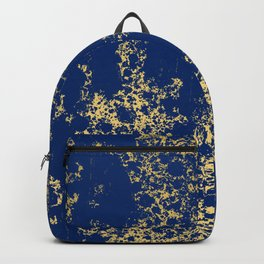 Navy Blue and Gold Patina Design Backpack