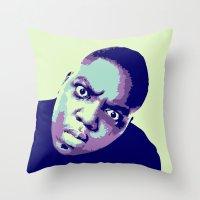 biggie Throw Pillows featuring Biggie by victorygarlic - Niki