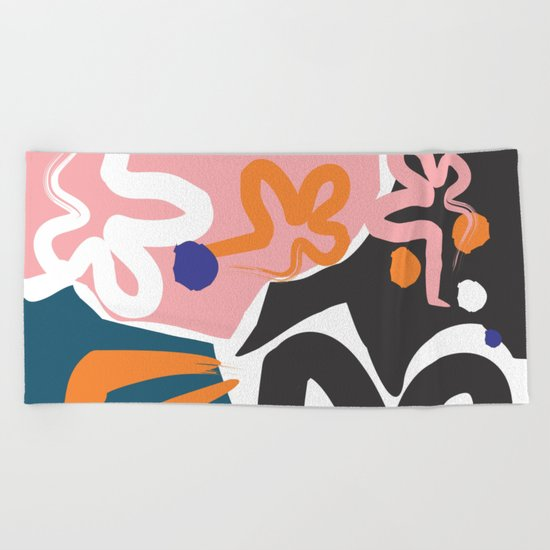 Nature #Pink #Black Beach Towel