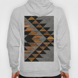 Urban Tribal Pattern No.10 - Aztec - Concrete and Wood Hoody