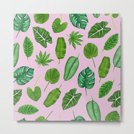 Pink Tropical Monstera Palm Leaves Jungle Pattern Metal Print