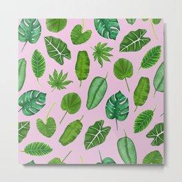 Pink Tropical Monstera Palm Leaves Jungle Pattern Metal Print