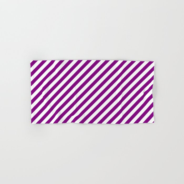 Diagonal Stripes (Purple/White) Hand & Bath Towel