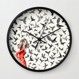 Barcelona Summer Bird Lady Wall Clock