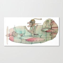 Vintage comics airplane and pilot (airplain) Canvas Print