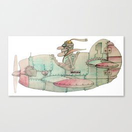Vintage comics airplane and pilot (airplain) Canvas Print