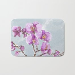 Watercolor Orchids Bath Mat