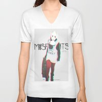 misfits V-neck T-shirts featuring Misfits by SAH.