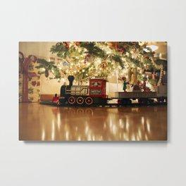 Christmas Tree and Train Metal Print