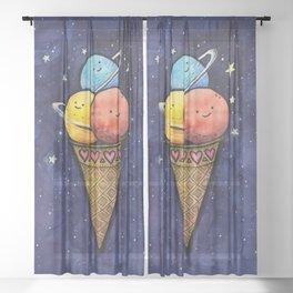 Space Ice Cream Cone Sheer Curtain