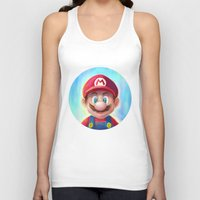 mario kart Tank Tops featuring Mario Portrait by Laurence Andrew Page Illustrator