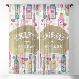 Cheers My Dears – Gold Sheer Curtain