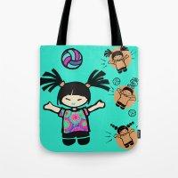 tye dye Tote Bags featuring Tye Dye Volley Hi by KiKi Spike Volleyball Stuff!