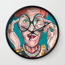 Iris Apfel Fashion Icon Drawings Feminist Icon Portrait Wall Clock