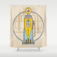 pocket fuel Shower Curtains featuring Fuel Up by Rachael Sinclair