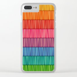 Abstract Colorful Decorative 3D Striped Pattern Clear iPhone Case