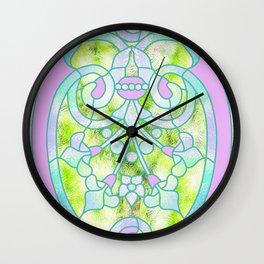 Art Nouveau Lime Green and Pink Batik Design Wall Clock