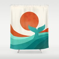 wave Shower Curtains featuring Wave (day) by Jay Fleck