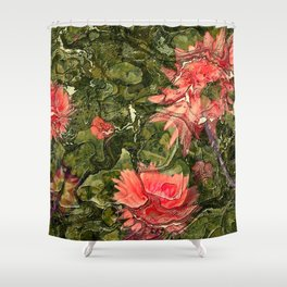 Pink flowers by Lika Ramati Shower Curtain