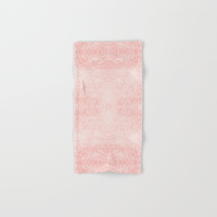 Rose quartz and white swirls doodles Hand & Bath Towel