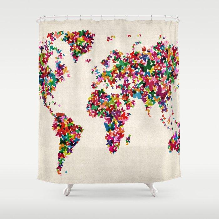 Butterflies Map Of The World Shower Curtain