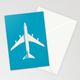 747-400 Jumbo Jet Airliner Aircraft - Cyan Stationery Cards