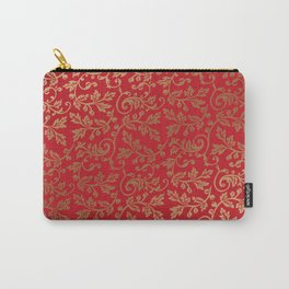 Botanical Christmas patten red and faux gold Carry-All Pouch