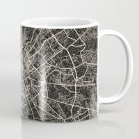 manchester Mugs featuring manchester map ink lines by NJ-Illustrations