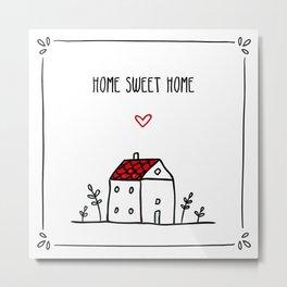 Tiny House Doodle Metal Print