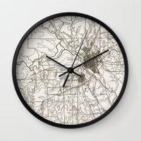 dallas Wall Clocks featuring Dallas Map by Zeke Tucker