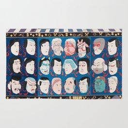 Utagawa Kuniyoshi - A Votive Tablet With Masks Of Kabuki Actors At Face Value Rug