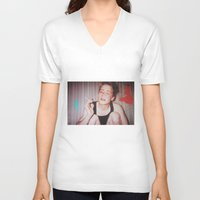 home alone V-neck T-shirts featuring Home Alone Smoking (T-shirt) by Cartoon Hotdog