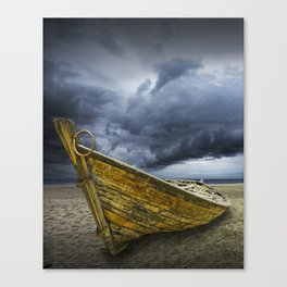 Beached Boat with Storm Brewing Canvas Print