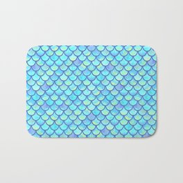Blue Mermaid Scales Bath Mat