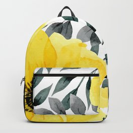 Big yellow watercolor flowers Backpack