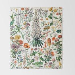 Adolphe Millot - Fleurs B - French vintage poster Throw Blanket