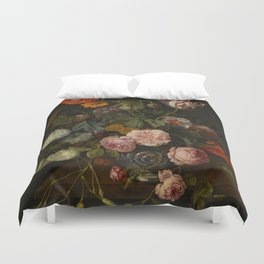 "Cornelis Kick ""A still life with parrot tulips, poppies, roses, snow balls, and other flowers"" Duvet Cover"