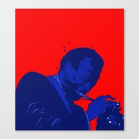 miles davis Canvas Prints featuring Miles Red Variant  by Dave P