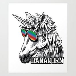 Dadacorn Funny Unicorn Father Best Dad Father Art Print