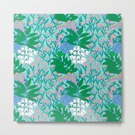 60's Blue Botanical Metal Print