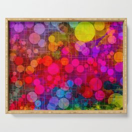 Rainbow Bubbles Abstract Design Serving Tray