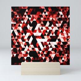 Triangle Geometric Vibrant Red Smoky Galaxy Mini Art Print