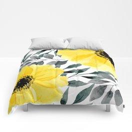 Big yellow watercolor flowers Comforters