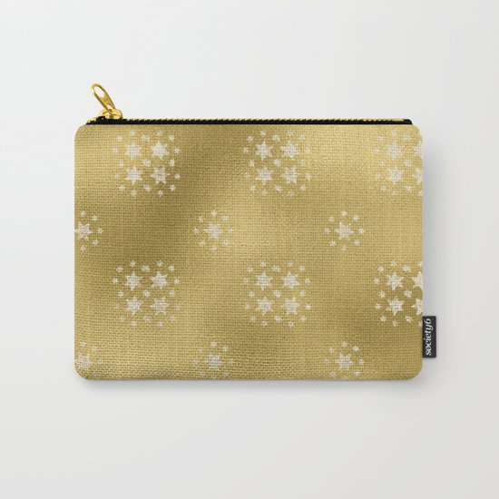 Merry christmas- white winter stars on gold pattern I Carry-All Pouch