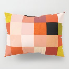 modern mid century checkers pattern coral Pillow Sham